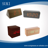 Hot selling wooden clock digital alarm clock Antique Wooden Desk ClocK