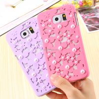 lovely colorful pearl flower mobile phone accessories mobile phone hard case for Samsung S6