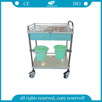 AG-MT035 stainless steel drawers emergency medical dressing hospital equipment trolley medical carts with wheels