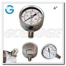 "All stainless steel hydraulic pressure gauge with 4"" diameter bottom connection"
