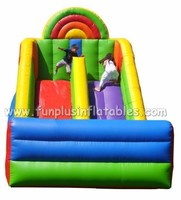 colorful rainbow theme inflatable slide F4147