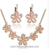 Fashionable rose gold plated opal jewelry set with necklace and earring