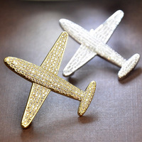 Crystal Airplane Aircraft Brooch