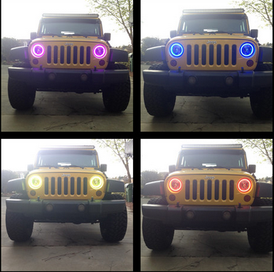 2016 popular rgb halo rings rgb angel eyes for Jeep, 97015 Jeep wrangeler