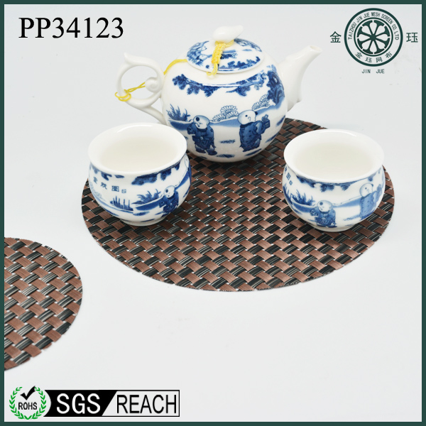 pvc woven vinyl coffee tea bar drink coaster