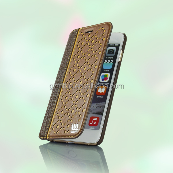 Factory supplier brown phone case for iphone 6 plus with wallet