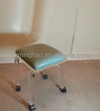 Modern lucite swivel chair,acrylic office chair with locking wheels