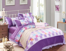 American brief style 100% cotton fabric bedding sets four colours squares patchwork