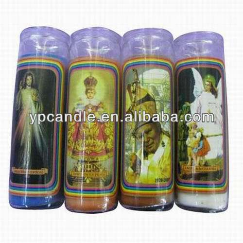 Multicolored 7 Days Religious Candle in Glass with Specific Pattern for Church