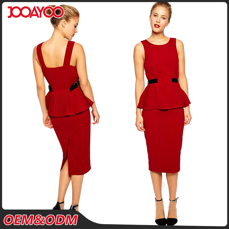 Fashion Elegant Round Neck Ladies Career Dresses Sleeveless Latest Designs Women Office Dress