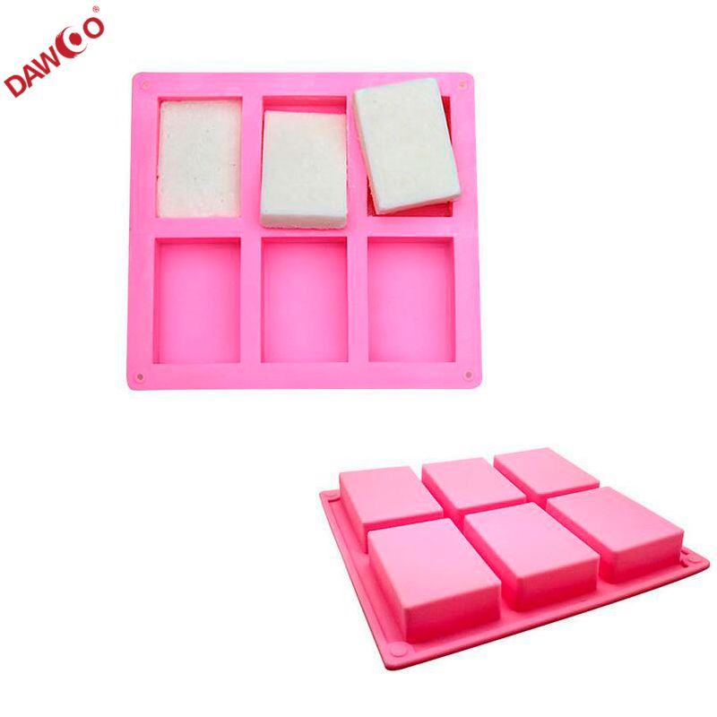 Hand made 6 Cavities Rectangle silicone soap mold