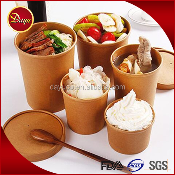 China supply brown kraft disposable hot soup paper bowl with paper lids