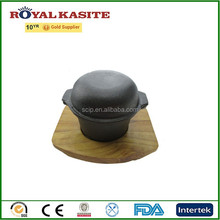 cast iron hot pot with wooden base, preseasoned cast iron reoona casserole, cast iron reoona pot