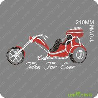 Red motorcycle rhinestone heat transfer designs