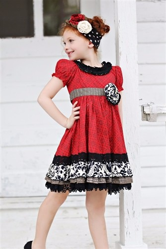 wear red ruffle girls boutique dress