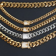 New Model 18Kgp Gold Custom Jewelry Men Stainless Steel Cuban Link Necklace