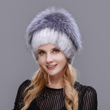 Otter fox fur straw hat winter ski cap knitted liner four colors