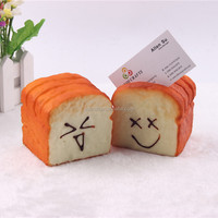 Creative artificial toast bread name card holder Fake smiley bread model
