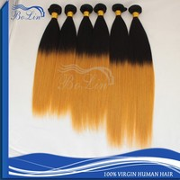 sell best colored two tone 1b/144# ombre remy hair weaving extension weft