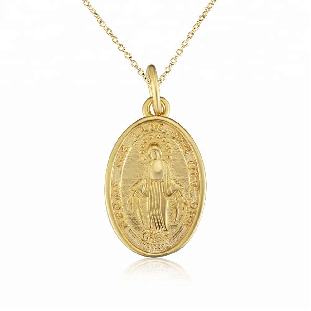Catholic jewelry wholesale custom made <strong>charms</strong> Religious virgin mary gold pendant necklace