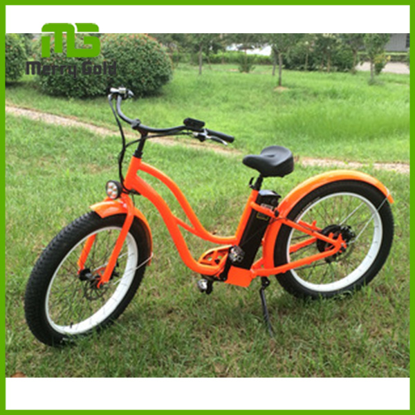 "adults/girls 48V 15A lithium battery 26"" aluminum beach cruiser electric bicycle"