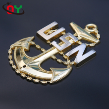 Wholesale factory price 3D USN Anchor custom pin badge 127mm zinc alloy gold shiny plated rudder shape metal badge