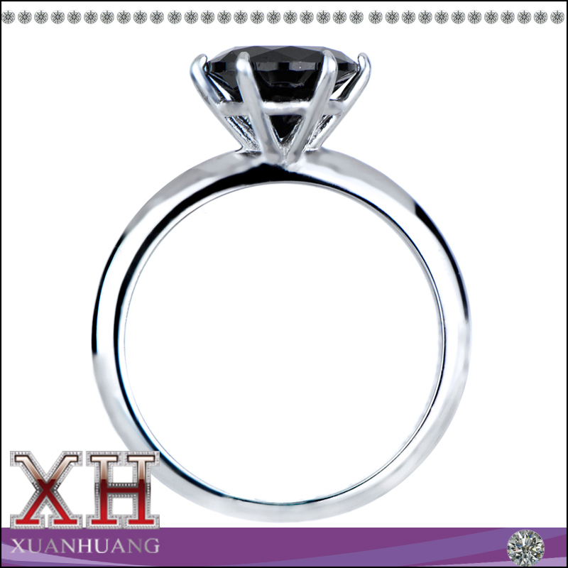 Xuan Huang Jewelry 925 Sterling Silver Black CZ Engagement Eternity Ring