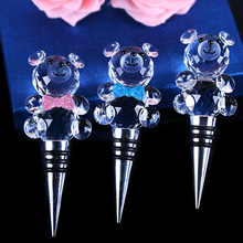 new design bear shape crystal glass wine stopper wedding gift botter stopper