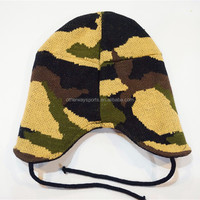 children's camo knitted hat with earflaps pattern