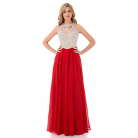 Red A Line Chiffon Evening Dresses Beading Sequined Elegant Long Prom Dresses