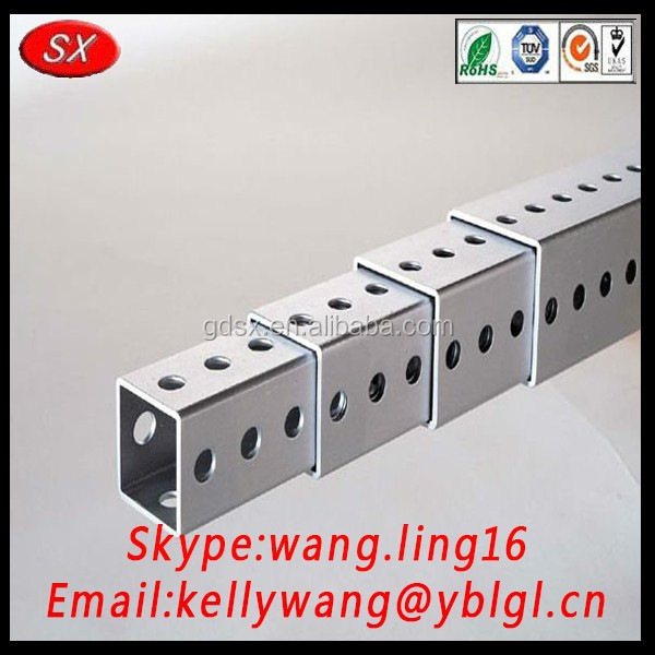 China factory customized small size male tube, square aluminum hollow tube with holes
