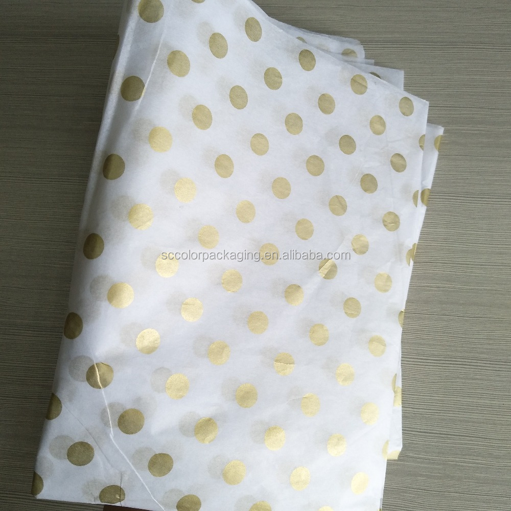 "Polka Dots Shirt Wrapping Tissue Paper, 20""x26"" Gift Wrapping Paper, Silver & Gold Dots Combo Free Shipping"