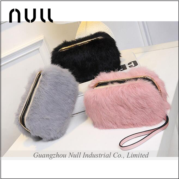 Hot sale quality pu bag women handbags hand made felt hand carry bag with rabbit hair