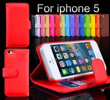 Wholesale Red Wallet ID Credit Card KickStand PU Leather CaseS Back Cover for iphone 5 5S