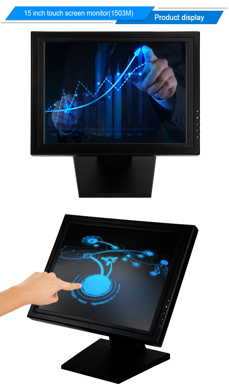 350cd/m2 cheap LCD LED touch screen pos system 15 inch touch screen monitor touch