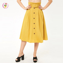 High Waisted Midi Casual Skirt Button Front Ruffle Trim Removable Buckled Belt Ladies Skirt