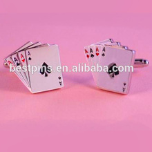 Custom aformen sector playing cards poker four A spade meatl silver copper shirt Cufflinks men