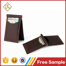 Custom brand name crazy horse rfid blocking slim front pocket bifold cheap money clip custom mens brown genuine leather wallet