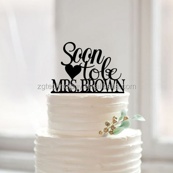 "Lettring cute ""Soon To Be Mrs. Last Name"" Brida Shower Party Cake Topper for Engagement Party Cake Decor"