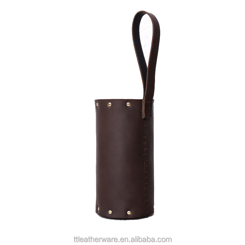 Genuine Leather Bottle Holder Wine Carrier Flask Cover