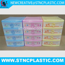 4 tier mini children plastic stackable storage drawers