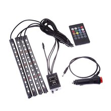 Music Atmosphere 4Pcs 12V Remote Control <strong>RGB</strong> auto LED Strip color changing led car light