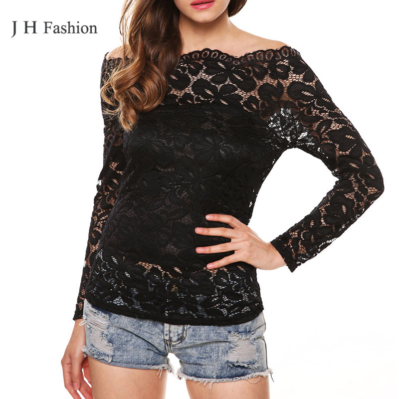 Lace Tshirt Women Slash Neck Ladies Shirts Womens Cropped Tops Fashion 2015 Clothing