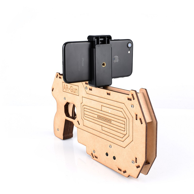 2017 Newest wood bluetooth shooting game toy player/AR gun for VR games