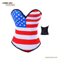 Cheap Big Sexy Waist Reducing American Flag Young Girls Corset