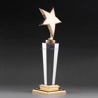 crystal award trophy wholesale with custom sizes metal star trophy