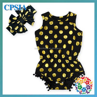 Hot Sale Big Bow Kot Headband Baby Girls Gold Polka Dots Black Romper Jumpsuit