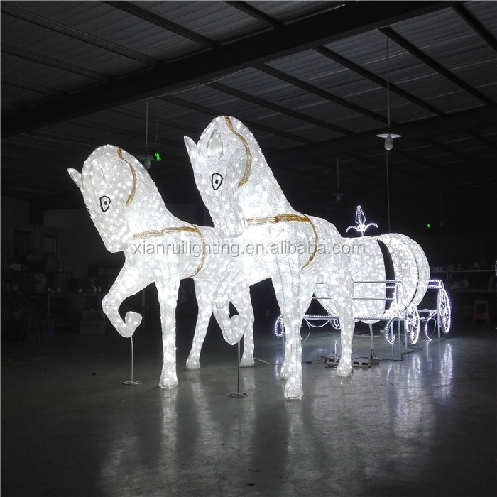 Christmas white crystal romantic cool design led cinderella electric horse carriage