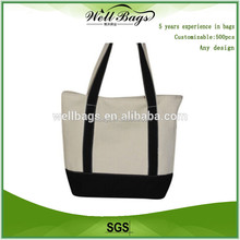 wholesale natural black cotton cloth hand bag , shopping tote bag