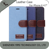 "Luxury Leather case for iphone 6 4.7"" Denim Pattern Flip Cover Case For iPhone6 4.7 inch Phone Bags"